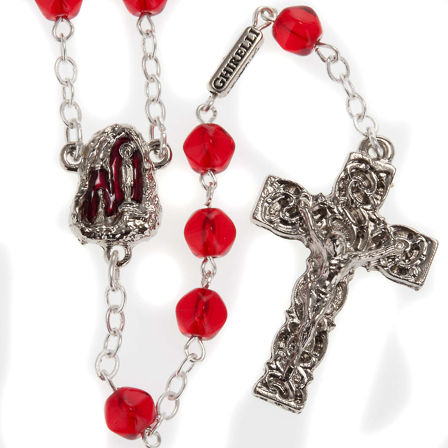 Ghirelli rosary Holy Lourdes Grotto, red 4