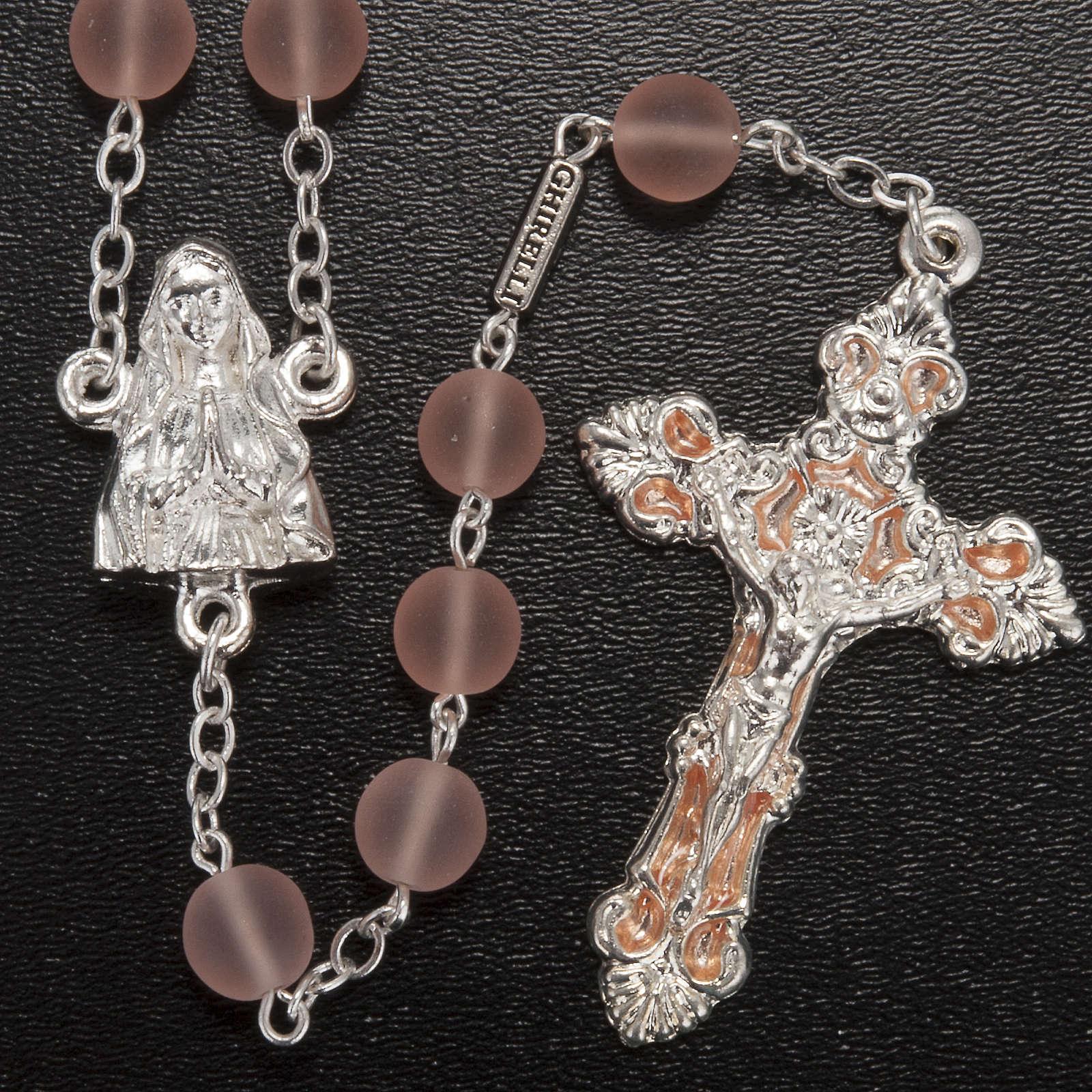 Chapelet Ghirelli Notre Dame de Lourdes verre rose opaque 8mm 4
