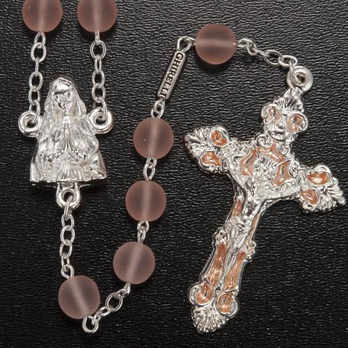 Rosario Ghirelli vetro cerato rosa Madonna Lourdes 8 mm 2