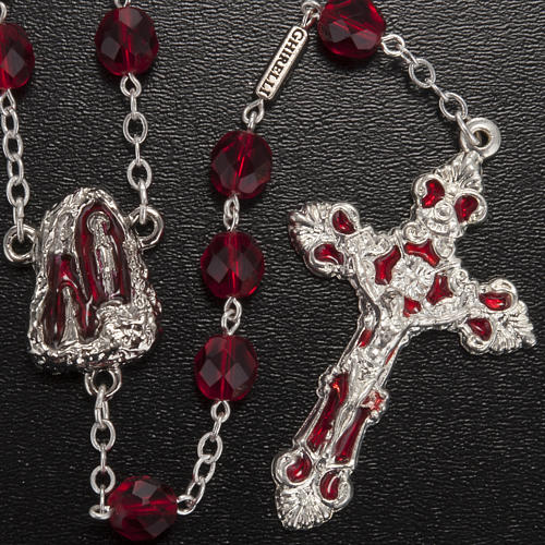 Rosario Ghirelli grotta Lourdes vetro rosso rubino 2