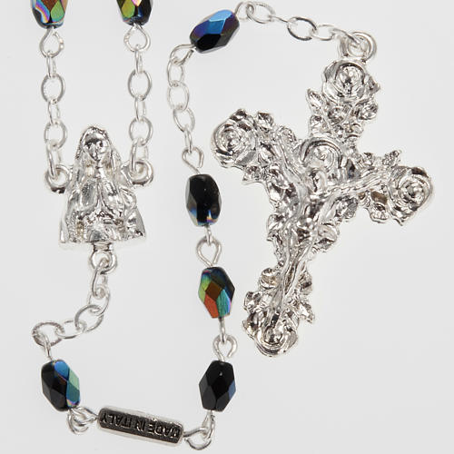 Ghirelli rosary Lourdes, black shiny glass 1