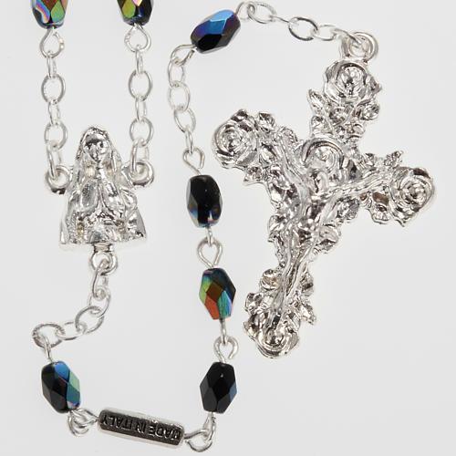 Chapelet Ghirelli Lourdes verre noir brillant 1