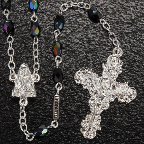 Ghirelli rosary Lourdes, black shiny glass 2