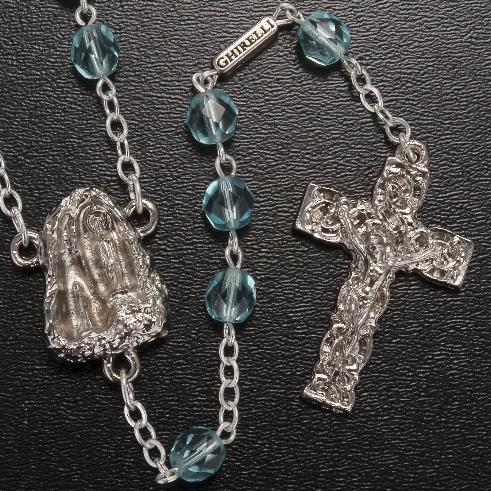Ghirelli rosary Holy Lourdes Grotto, light blue 4