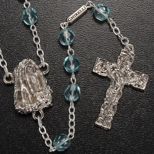 Ghirelli rosary Holy Lourdes Grotto, light blue 2