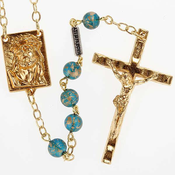 Rosario Ghirelli oro verde Cristo e Madonna con bimbo 6 mm 4