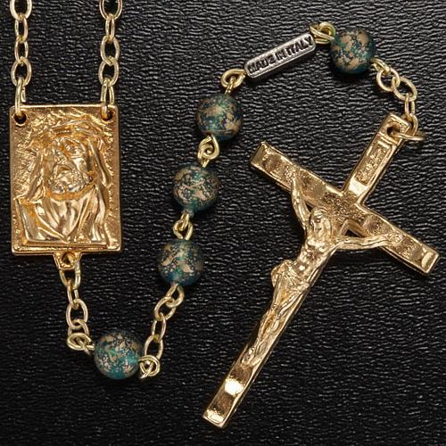 Rosario Ghirelli oro verde Cristo e Madonna con bimbo 6 mm 2