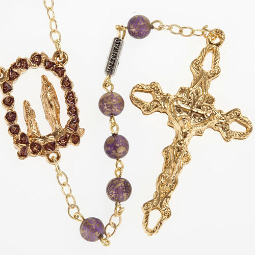 Rosario Ghirelli oro viola Grotta di Lourdes 6 mm 1