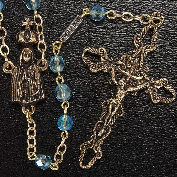 Chapelet Ghirelli perles verre bleu ciel Fatima 5 mm 4