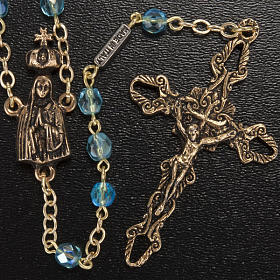 Chapelet Ghirelli perles verre bleu ciel Fatima 5 mm s2