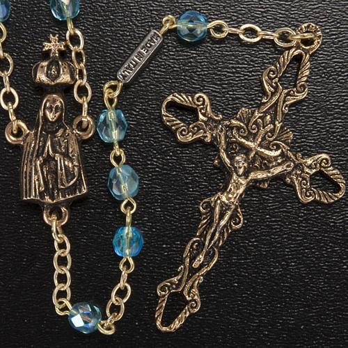 Chapelet Ghirelli perles verre bleu ciel Fatima 5 mm 2