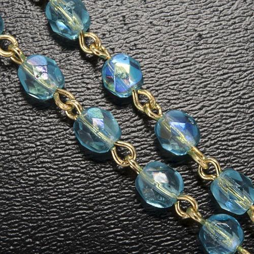 Chapelet Ghirelli perles verre bleu ciel Fatima 5 mm 5