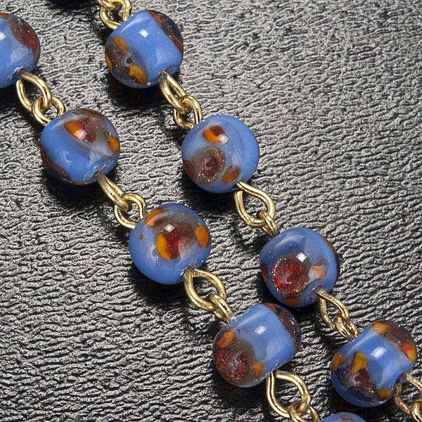 Chapelet Ghirelli verre bleu orange Grotte de Lourdes 6mm 4