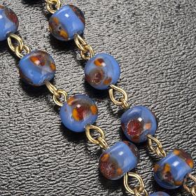 Chapelet Ghirelli verre bleu orange Grotte de Lourdes 6mm s5