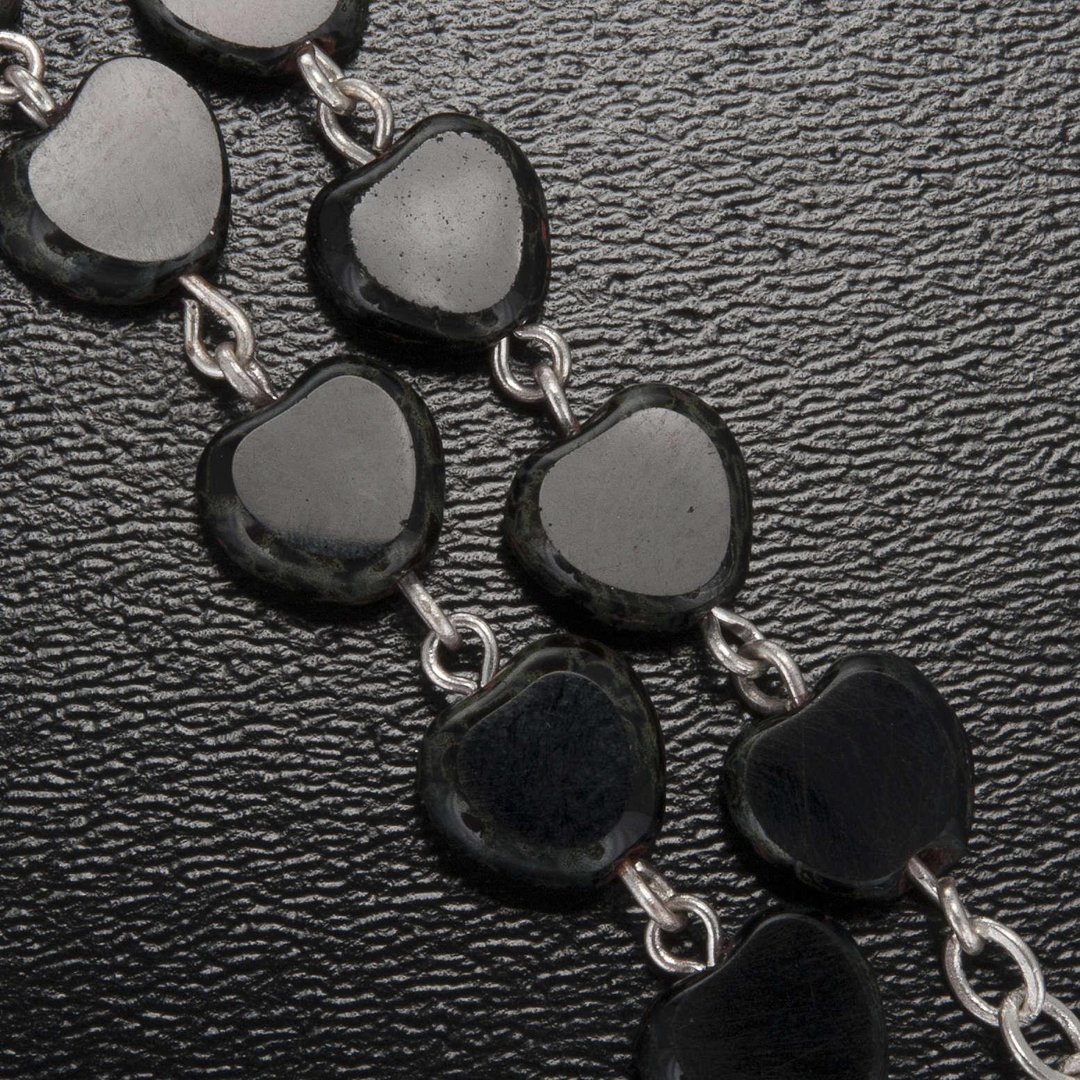 Chapelet Ghirelli noir coeur Lourdes 8 mm 4