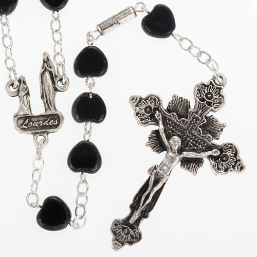 Chapelet Ghirelli noir coeur Lourdes 8 mm 1