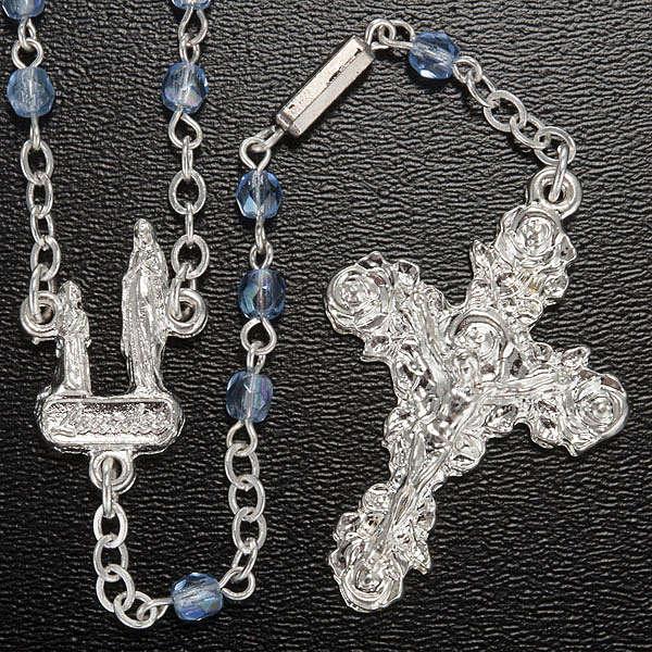 Rosenkranz von Ghirelli Grotte von Lourdes hellblauer Kristall 4 mm 4