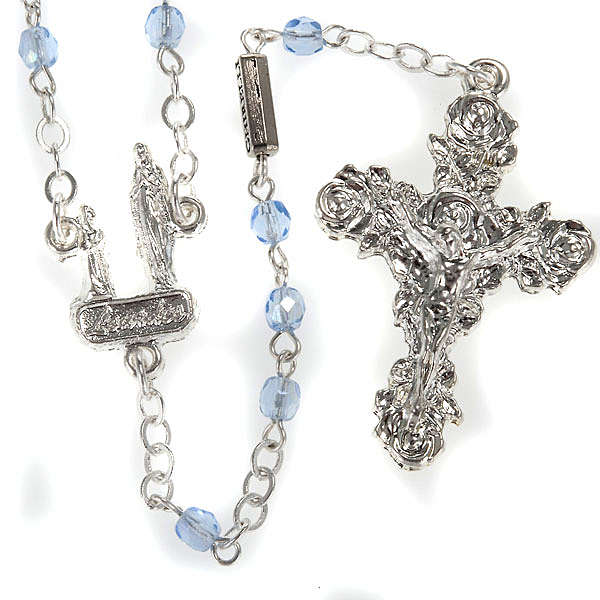 Ghirelli rosary, light blue crystal Lourdes grotto 4mm 4