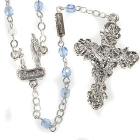 Ghirelli rosary, light blue crystal Lourdes grotto 4mm s1