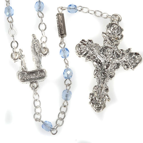Ghirelli rosary, light blue crystal Lourdes grotto 4mm 1