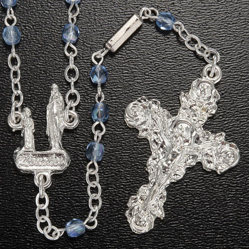 Ghirelli rosary, light blue crystal Lourdes grotto 4mm 2