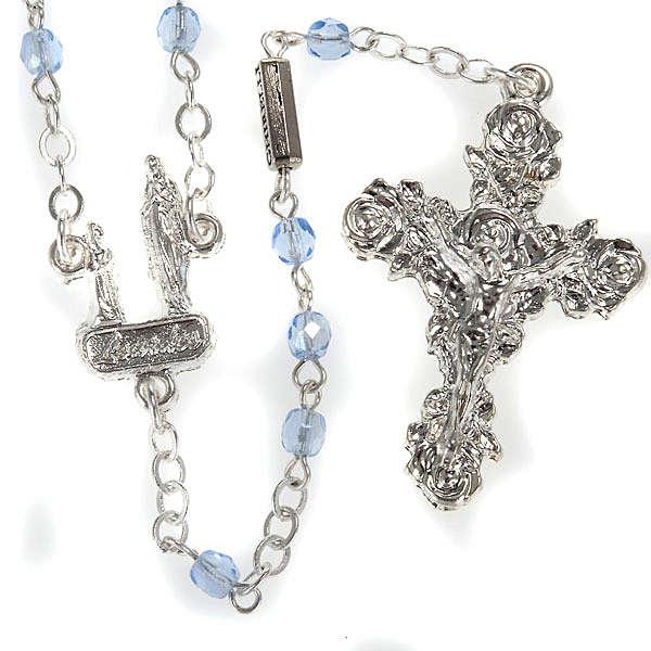 Różaniec Ghirelli kryształ błękitny grota Lourdes 4 mm 4