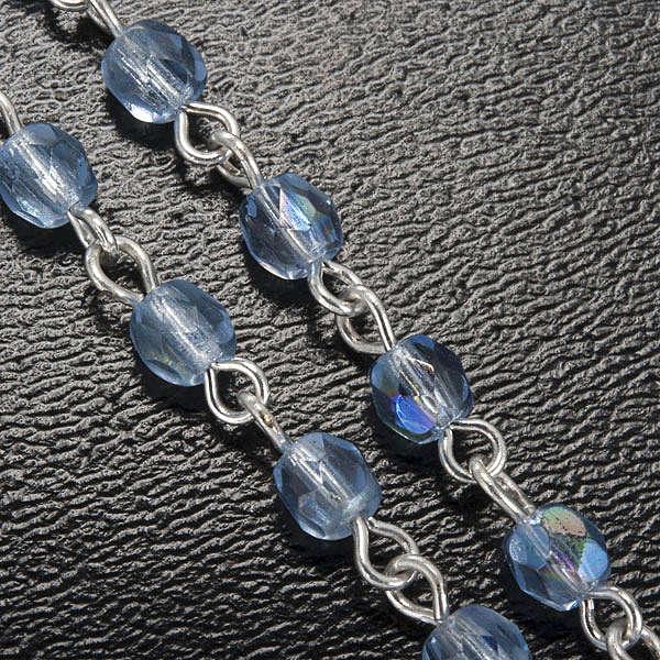 Ghirelli rosary, light blue crystal Lourdes grotto 4mm 4