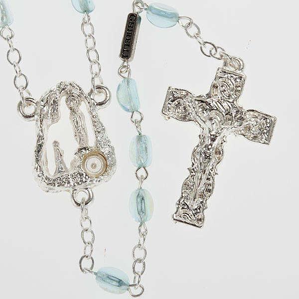 Ghirelli rosary Lourdes Grotto, light blue 6x4mm 4