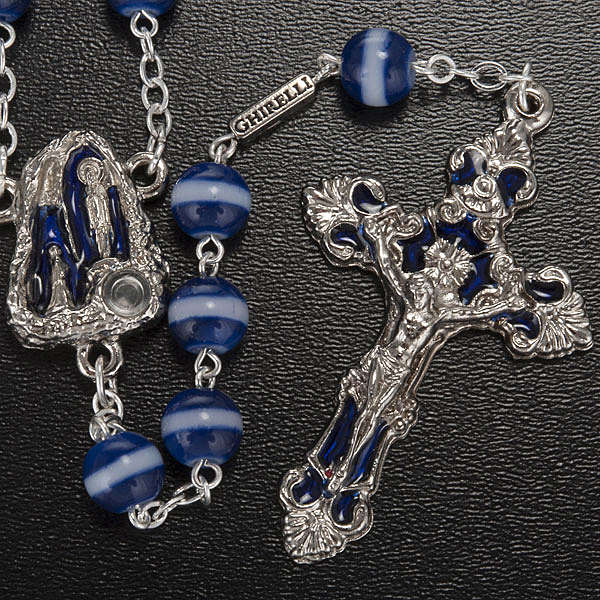 Ghirelli blue and white rosary Lourdes Grotto 8mm 4