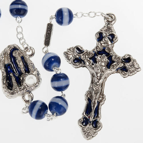 Ghirelli blue and white rosary Lourdes Grotto 8mm 1