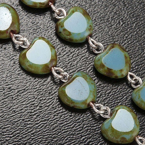 Ghirelli rosary, Fatima, heart 6x6mm 4