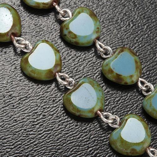 Ghirelli rosary, Fatima, heart 6x6mm 5