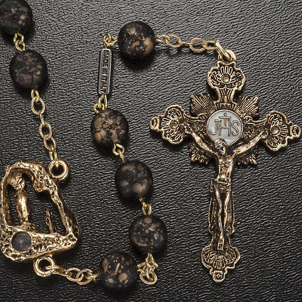 Ghirelli rosary, black with stripes 8mm 4