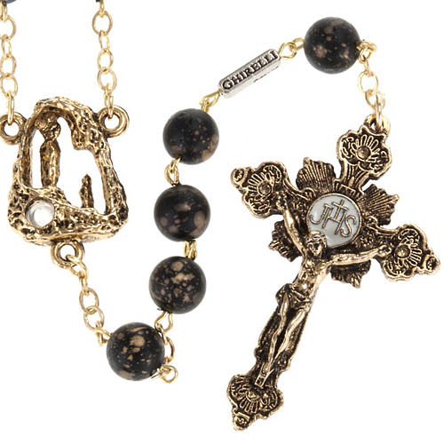 Ghirelli rosary, black with stripes 8mm 1