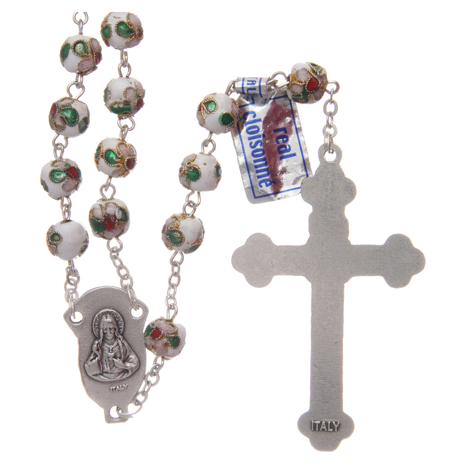 Cloisonné rosary white round beads 7 mm 4
