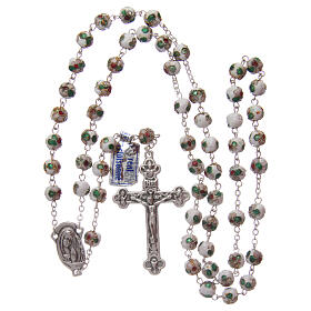 Cloisonné rosary white round beads 7 mm s4