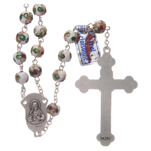 Cloisonné rosary white round beads 7 mm 2