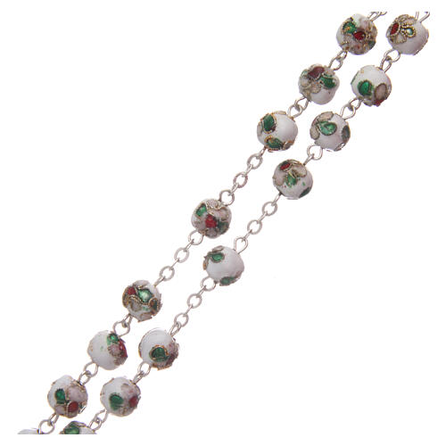 Cloisonné rosary white round beads 7 mm 3