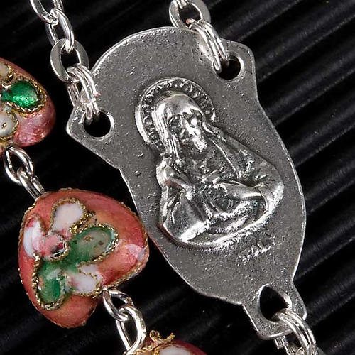 Pink cloisonné rosary with heart-shaped beads 3