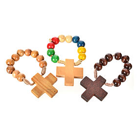 Single decade rosaries: Wood ten beads rosary