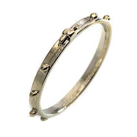 Bagues religieuses: chapelet en anneau argenté