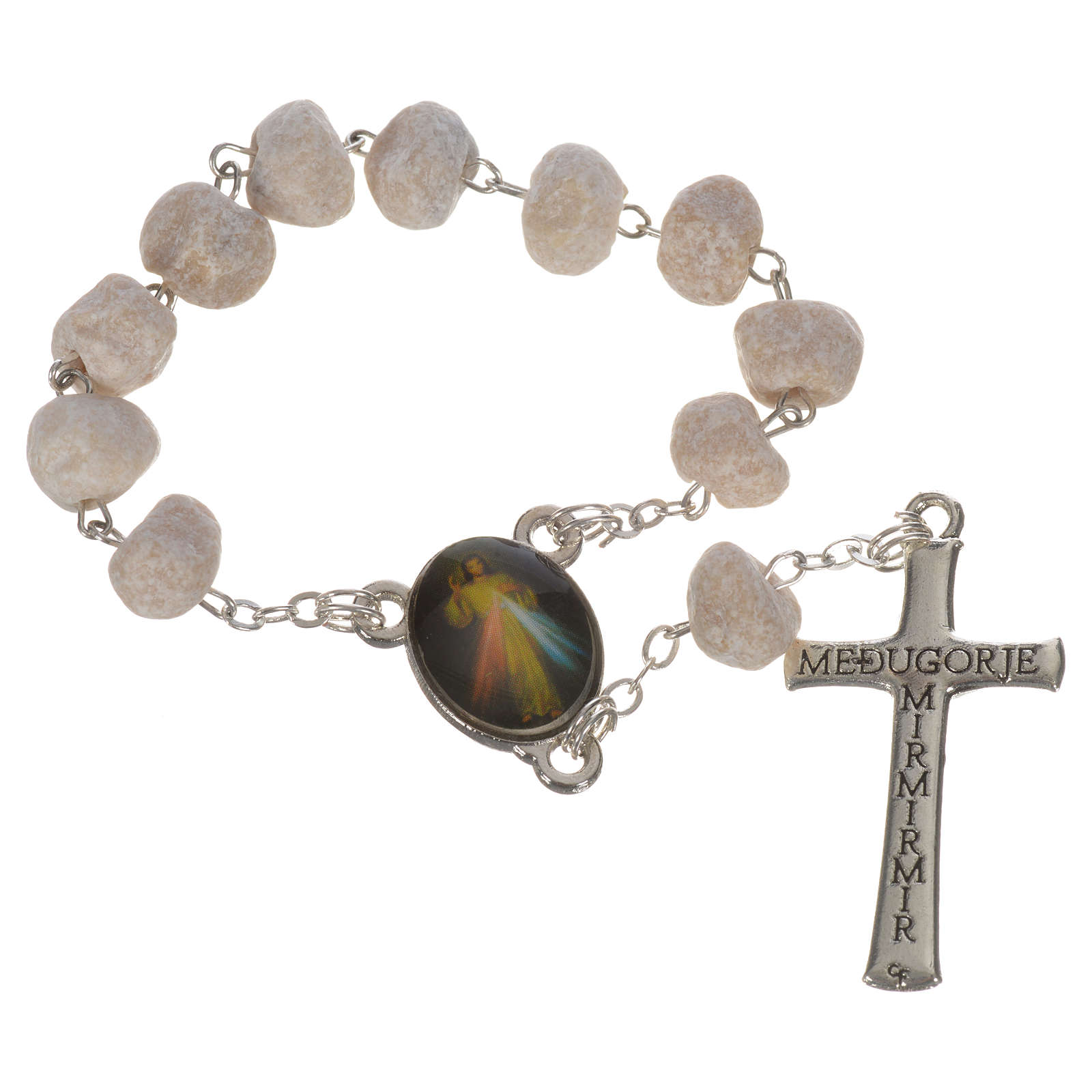 White stone Medjugorje decade rosary 4