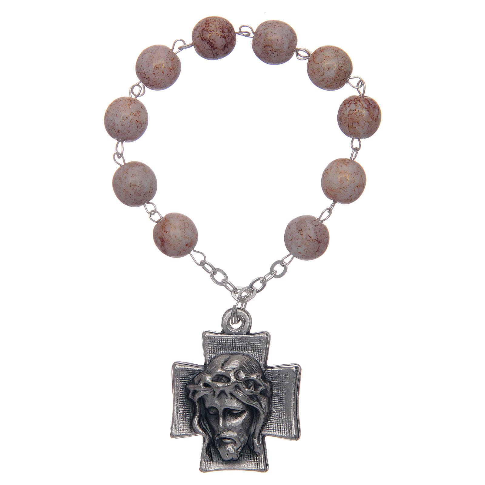 Decade rosary, imitation stone beads 4