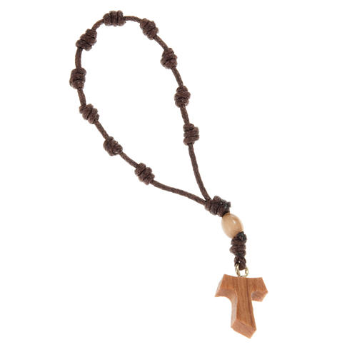 One decade olive wood beads rosary and tau cross 1