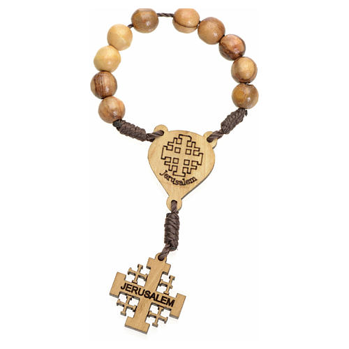 One decade rosary in Holy Land olive wood, Jerusalem cross 1