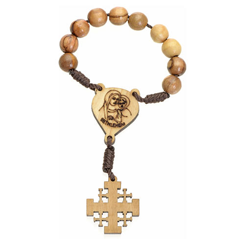 One decade rosary in Holy Land olive wood, Jerusalem cross 2