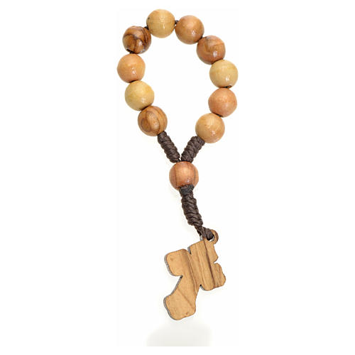 Chapelet dizainier Terre Sainte olivier croix métal 2