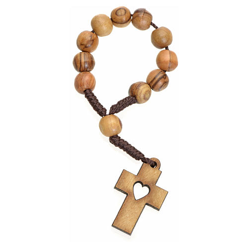 Single decade rosary in Holy Land olive wood, cross and heart 1