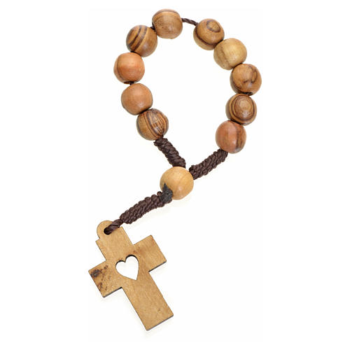 Single decade rosary in Holy Land olive wood, cross and heart 2