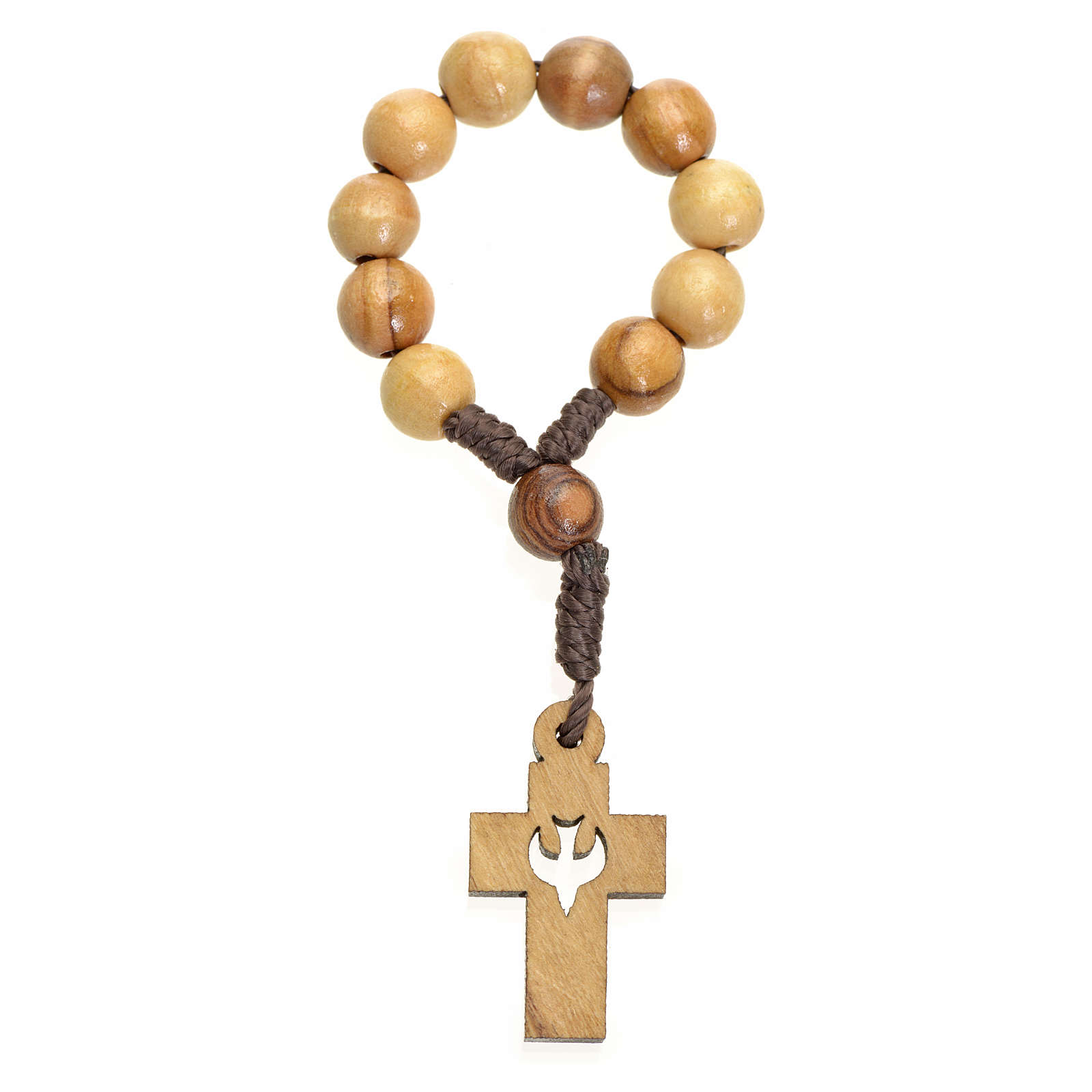 Single decade rosary in Holy Land olive wood, cross and dove 4